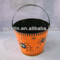Beautiful painted halloween tin bucket