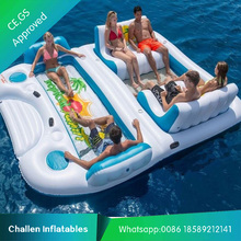 Plato PVC 0.9mm water beach toys inflatable island rafting lounge for sale