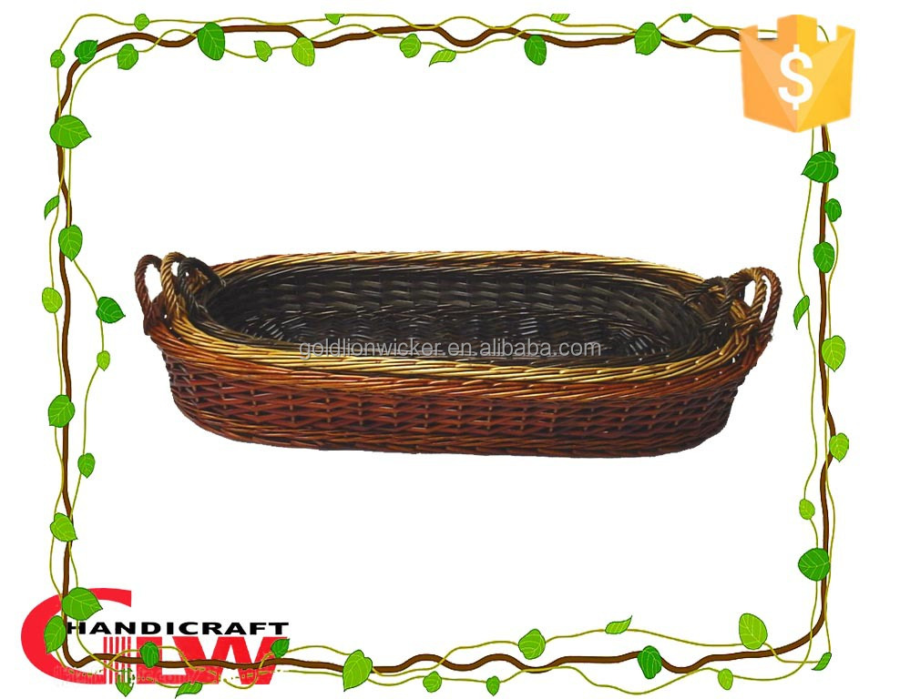 Willow peel bread basket for loaf of bread,long oval wicker basket for food