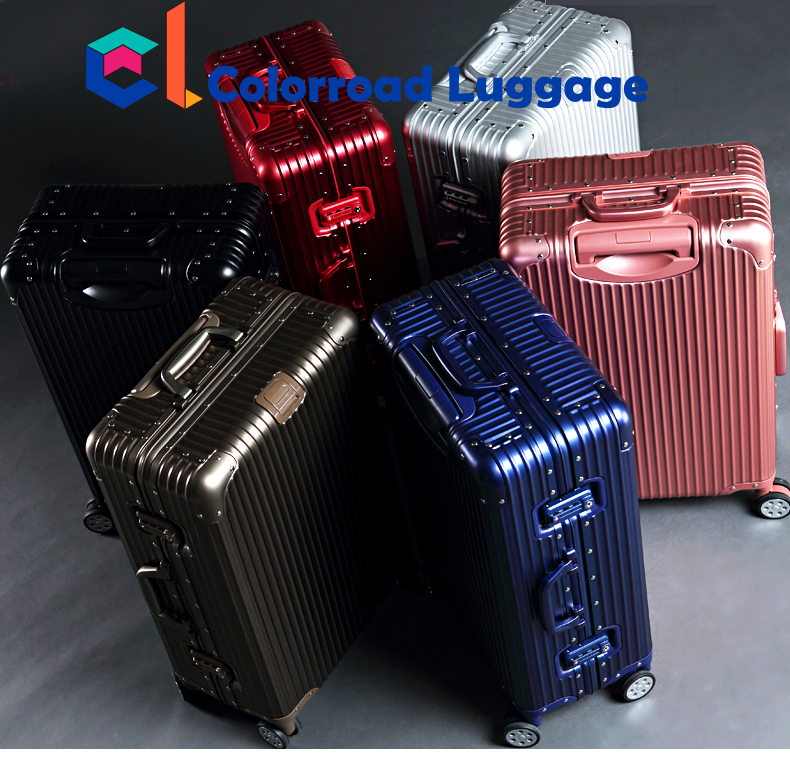 2017 New High Quality Colorful USB GPS Bluetooth carry on luggage Smart Aluminium Frame Suitcase Trolley Travel Luggage bags