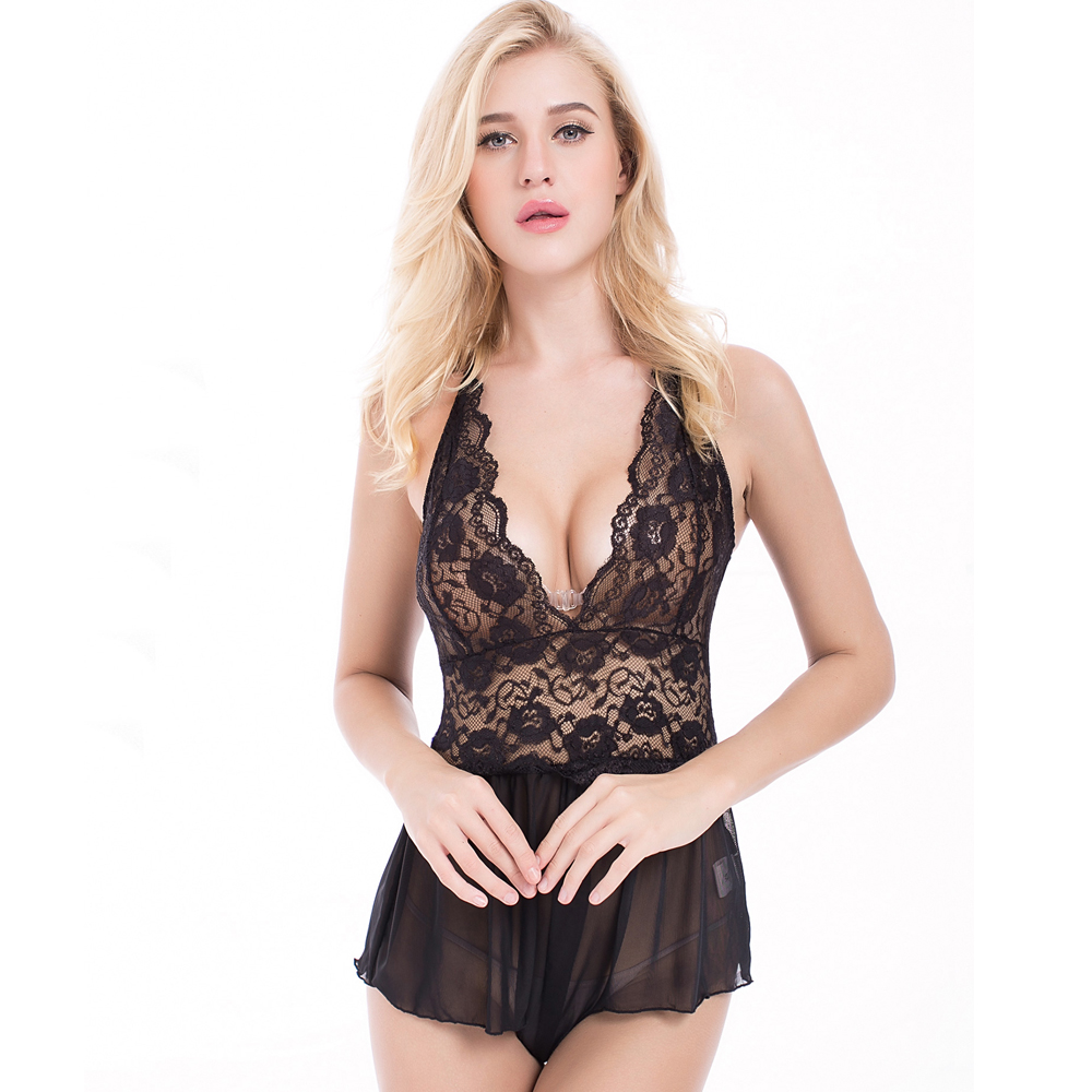Low v-neckline transparent nighty crotchless erotic lingerie sexy hot roumper