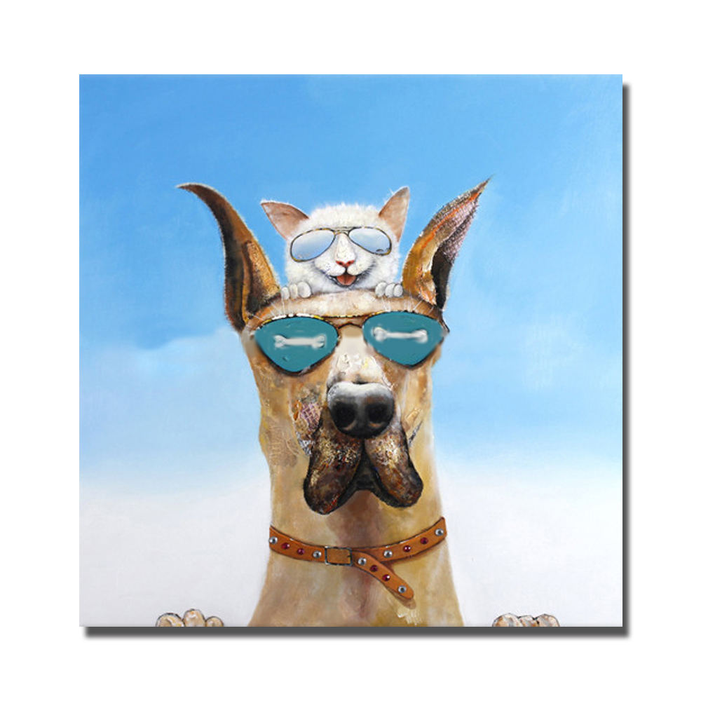 Fashion animal cat and dog wear sunglasses living room murals no frame canvas wall arts