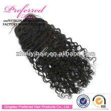 Wholesale AAAAA grade 20'' 1# 10mm curl Brazilian human hair lace closure in stock accept paypal & Escrow payment