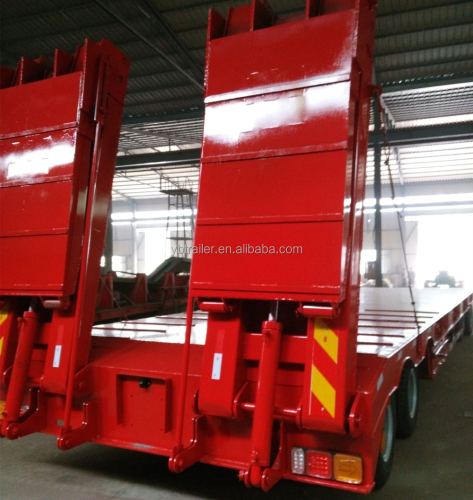 China manufacture Heavy duty hydraulic 3 axles low bed semi trailer