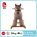 Playful plush wooden rocking horse on wheels for baby