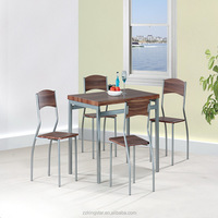 Cheap Wooden dining set Table 4 Chairs With Metal Tube
