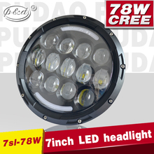 78W led headlight 7inch jeep light with DRL