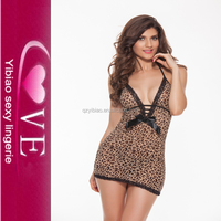 Apparel Stock Leopard Christmas Babydoll Lingerie Sexy Adult Girls Babydolls Photos Open Hot Sexy Transparent Nighties