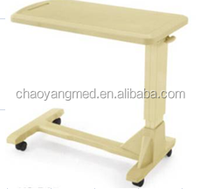 hospital bedside tray table, used hospital bedside tables,over bed table with wheels CY-H815A