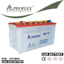 12V lead aicd 100AH car battery N100 dry charged auto battery