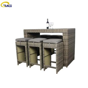 Wholesale custom outdoor aluminum rattan bar table
