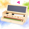 antique wooden pencil case multifunction architectural design large capacity stationery pencil box