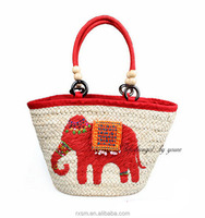 Direct-sale 2015 New Style Straw bag Shoulder bag Rattan weave Red elephant Pattern