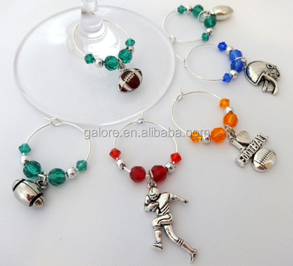 GWN050 custom football wine charm gift