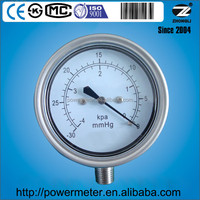 All stainless steel 2.5 inch vacuum pressure gauge supplier CE approved kPa mmH2O scale