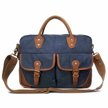 YD-2169 European vintage style leisure stylish waterproof messenger laptop waxed canvas tote bag