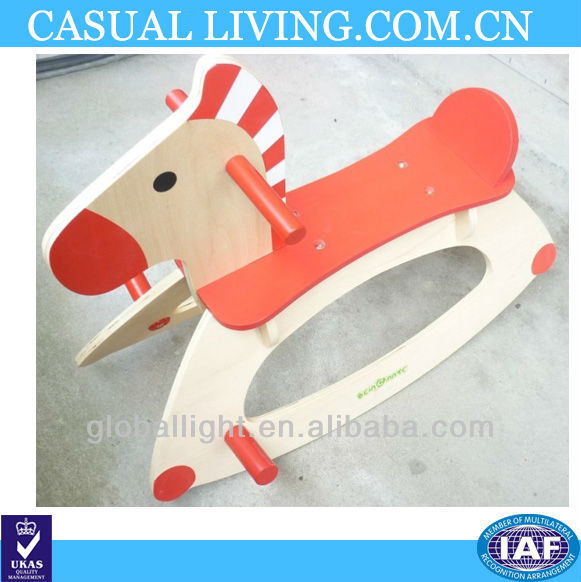 Children Playing Toy Wooden Rocking Horse
