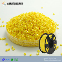 ABS PLA 3D printer filament bulk plastic material pellets yellow color masterbatch