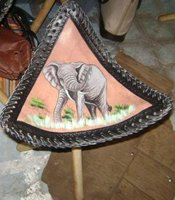 Leather Tripod stool with african art