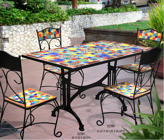 table de jardin en fer forge mosaique des. Black Bedroom Furniture Sets. Home Design Ideas