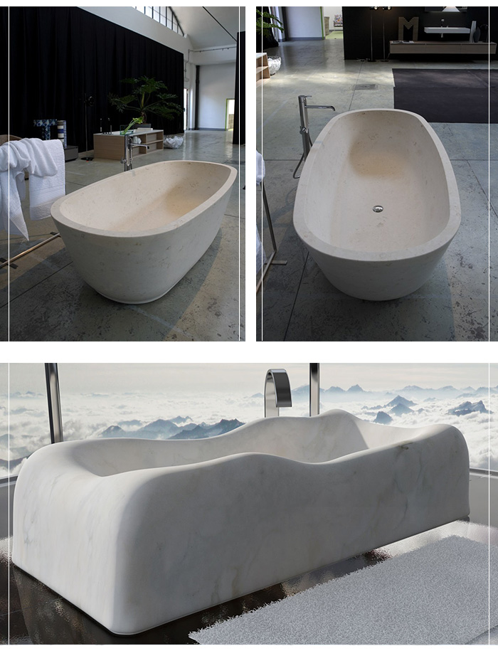 Natural stone well polished bathroom solid white marble bathtub for sale