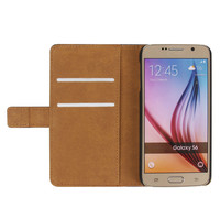 For Samsung S6 Plain Weave Wallet Flip Leather Stand Cover Case For Galaxy S6 With Card Holder