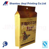 Standing side gusset laminated material printed packaging bag for jerked beef /snacks