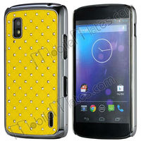 Crystal Diamond Grid Pattern Back Cover Eletroplating Hard Case for LG E960 Nexus 4