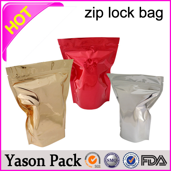 YASON zippered storage bags green colored ziplock bags laminated foil bag with zipper