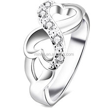 Womens Stainless Steel Cubic Zirconia Heart Infinity Symbol Wedding Ring,Latest Gold Finger Ring Designs With High Polish