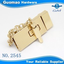 Light gold zinc alloy square metal shiny brand handbag turn lock