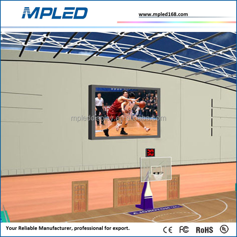 ultra thin indoor retal hanging cube LED screen display in basketball court