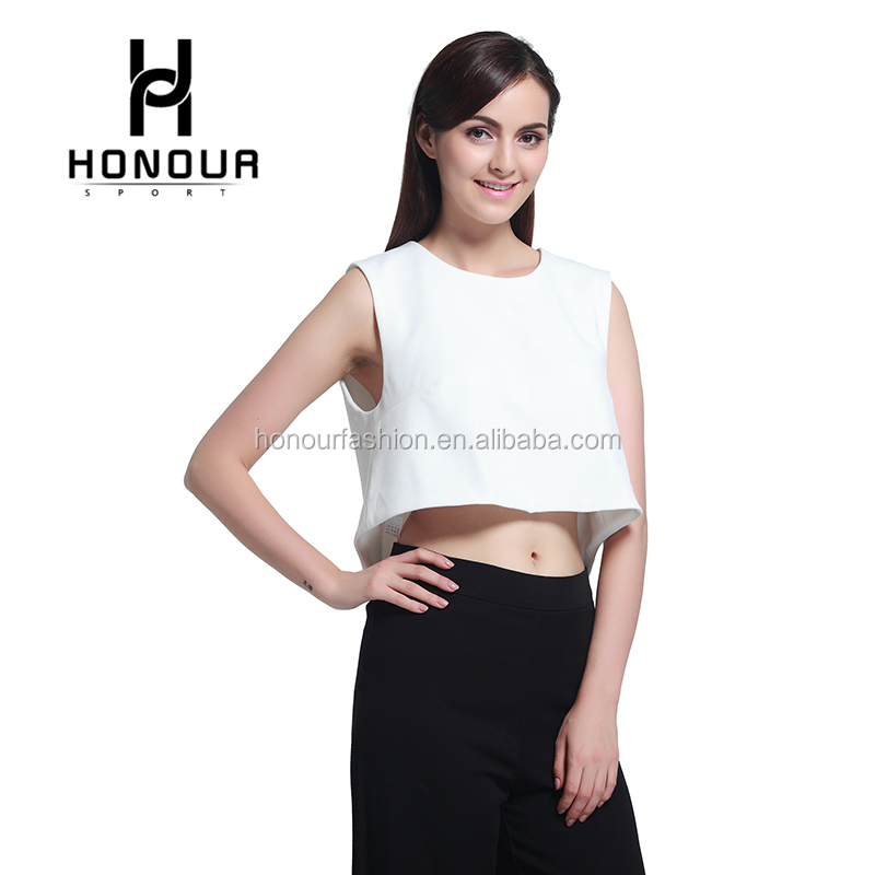 Custom Women Sexy Plain White Color Open Back Sleeveless Blouse Crop Top Cropped Shirt