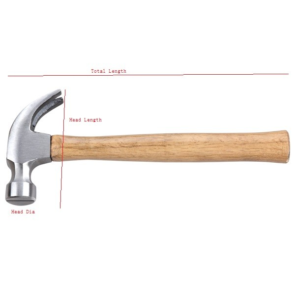 well polished claw wooden handle hammer hand tool for house