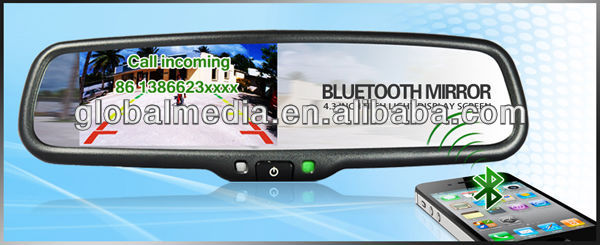 "4.3"" Car rearview mirror monitor with GPS/Bluetooth hand free system"