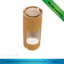 Promotional packing paper tube paper tea tube kraft paper tube with pvc window