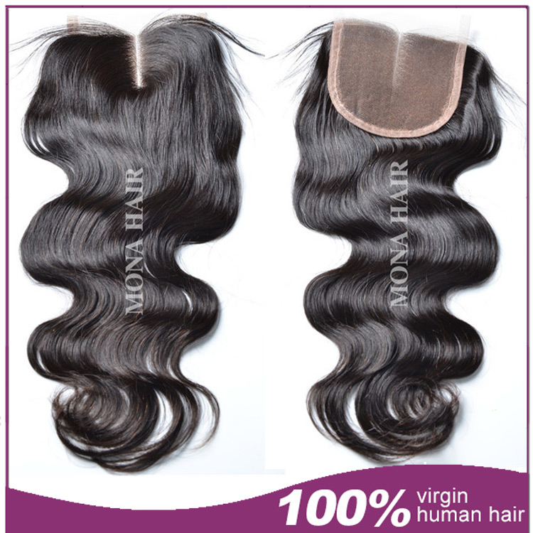 New arrival lace closure middle parting, 100 Mongolian human hair closure with baby hair