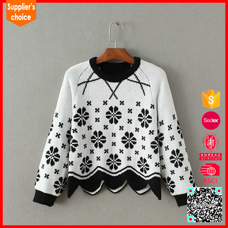 Latest design long sleeves patterns pullover knit jacquard sweater