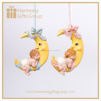 Figurines for Baby Shower Baby First Christmas Ornament Baby Sleeping on Moon