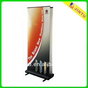 luxury double side portable aluminum roll up banner stand