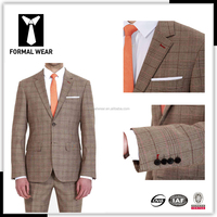Super 140's 100% wool custom two buttons classic brown mens tailored suits