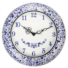 large metal blue and white porcelain handicraft decorative wall clock