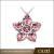 OUXI 2017 New Trending Fashion Lady Jewelry Pink Crystal Heart Leaf Flower Pendant Crystal Flower Pendant Necklace