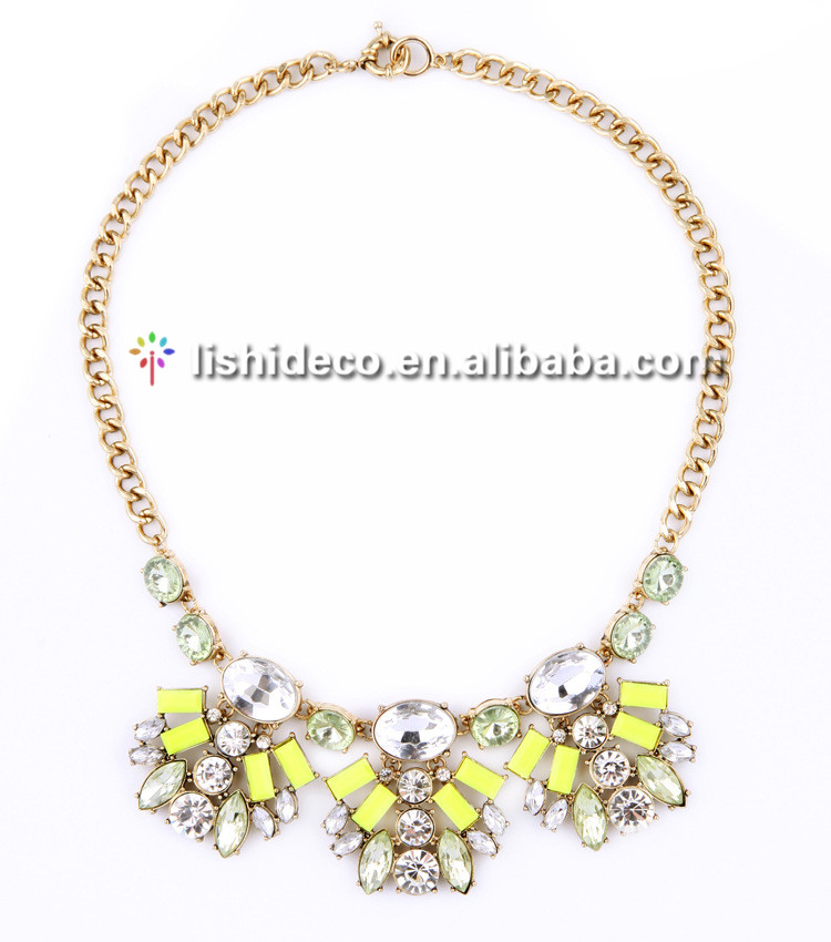 Unique design newest colors stone necklace fashion chain wedding necklace