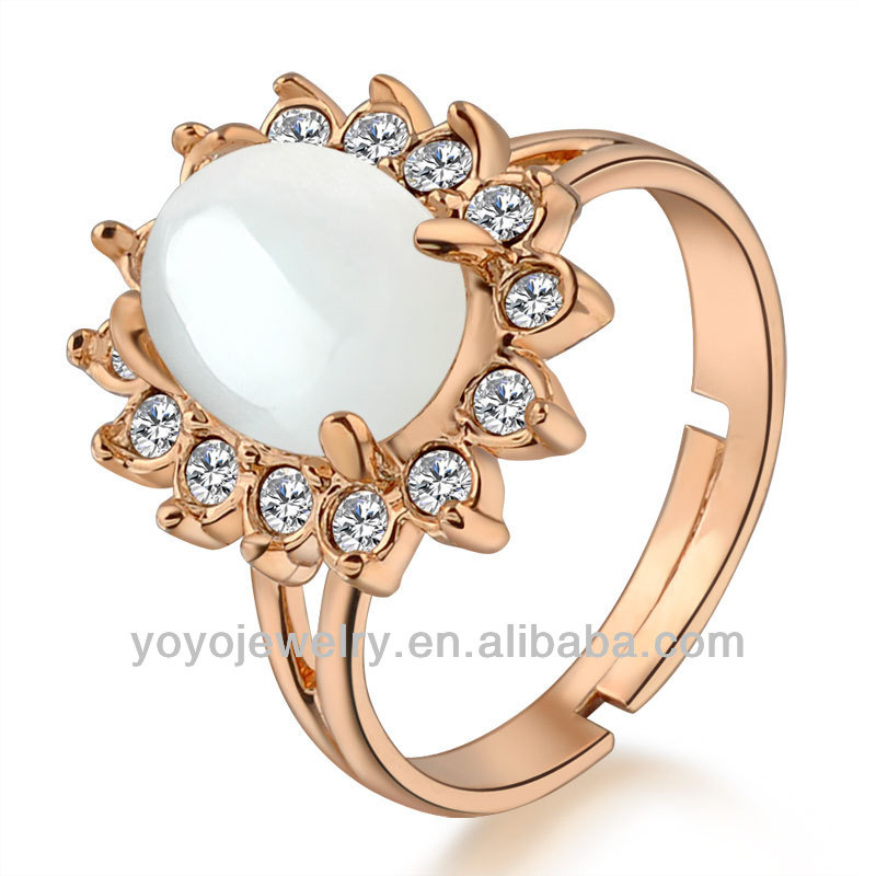 Wedding band 18k gold plated ring with pearl