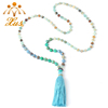 NE-14456 Exclusive High 8MM lapis Mixed Natural Jasper Long Tassel Beads Necklace Luxury Handmade Beaded Bohemia Women Necklace