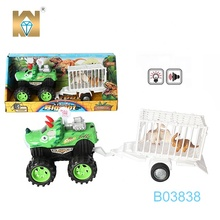 Dinosaur friction car toy animal tow truck toy with flashing and sound