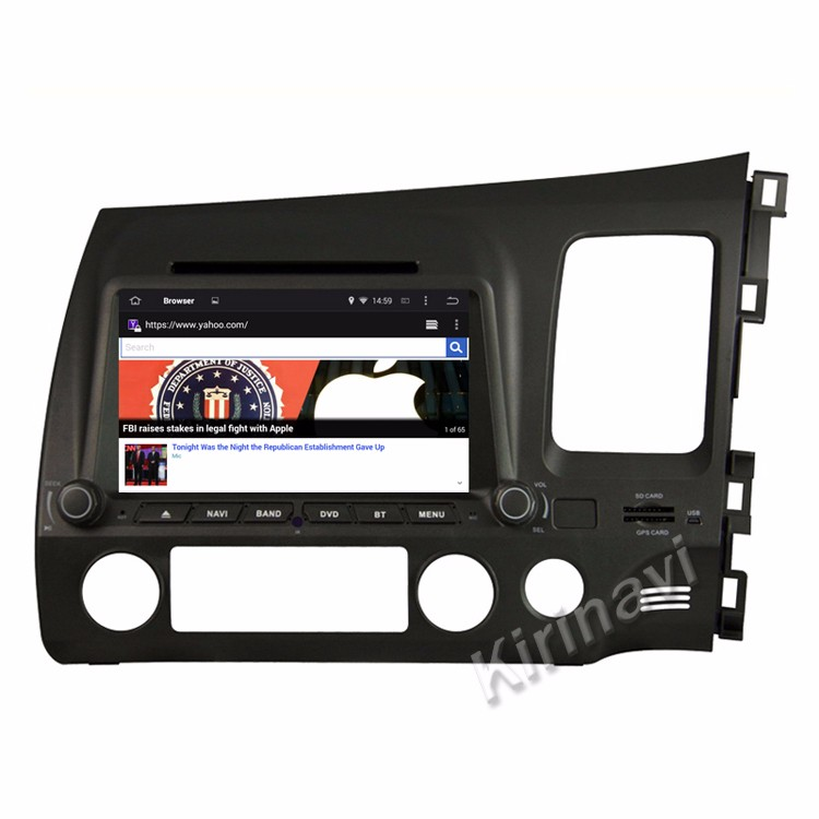"Kirinavi WC-HC7658R android 5.1 8"" touch screen car dvd player for honda civic 2006 - 2011 auto radio with gps navigation"