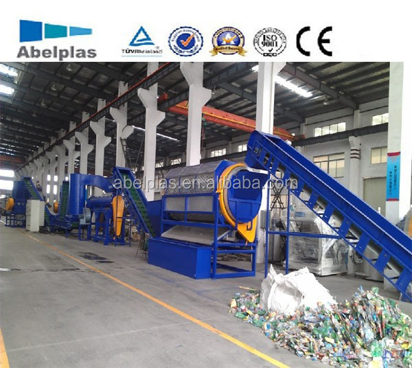 professional manufacturing waste used scrap plastic pet bottle flakes crushing washing drying recycling machinery line