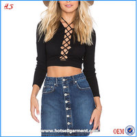 Wholesale Latest Tops Designs Girls Tops and Jeans Phots / Pictures of Girls Cotton Long Sleeve Crop Tops